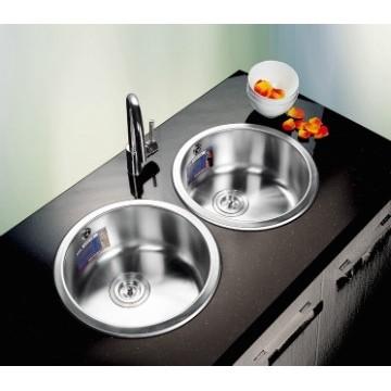 Lavatrastos redondo, moderno y elegante de una fosa de gran tamaño, ideal para coperos y cocinas pequeñas.