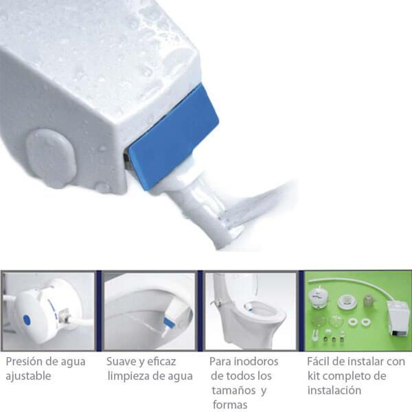 "<div class=""page"" title=""Page 3""> <div class=""section""> <div class=""layoutArea""> <div class=""column"">  • Control de presión  • 2 formas de limpieza (una boquilla)  • Vaginal  • Anal  • Control de temperatura  • Agua fria  • Agua Caliente  • Ideal para todo tipo de inodoros  • Kit completo de instalación  </div> </div> </div> </div>"