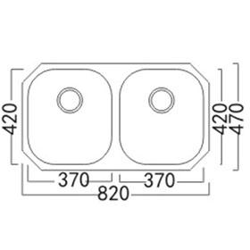 Lavatrastos de dos fosas de gran tamaño y súper profundidad, de fino acabado Satín, fabricado con acero inoxidable 304 y espesor de 1.2 mm (C-18) materiales usado en la fabricación de utensilios de cocina de la más alta calidad.