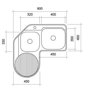 Lavatrasto de esquina inovador que da ese toque especial y unico, siendo un diseño totalmente funcional, ocupando milimetricamente cada espacio siendo uno de los lavatrastos en el cual se puede disfrutar la comodidad.